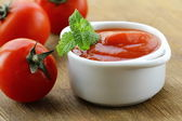 Natural tomato sauce with fresh tomatoes — Stock Photo