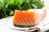 Elite cultivar of red fish salted salmon — Stock Photo