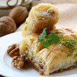 Traditional Turkish arabic dessert - baklava with honey and nuts — Stock Photo #11967412