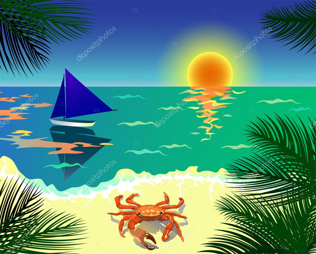 Beautiful tropical view with beach, boat, crab and palm leaves  Stock Vector #11398760