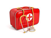 3d illustration: medical kit on a white background — Stok fotoğraf