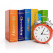 3d illustration: Alarm clock and books. Time to start learning — Stock Photo