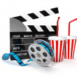 3d illustration: A film with the coil shooting cinema display — Stock Photo