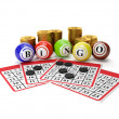 3d illustration: Lottery Bingo and group of gold coins. Gamble — Stok Fotoğraf #11715476