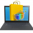 Stock Photo: 3d illustration: Buying over Internet, online store