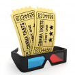 3d illustration: Tickets to the cinema and 3D glasses. — Stock Photo