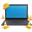 3d illustration: Protections for the repair and laptop on white — Stock Photo