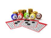 3d illustration: Lottery Bingo and a group of gold coins. Gamble — Stock Photo