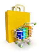3d illustratie: kopen via het internet, online winkel — Stockfoto