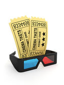 3d illustration: Tickets to the cinema and 3D glasses. — Photo