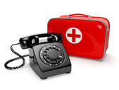 3ä illustration: Call of the doctor, medical care. Phone with th — Stock Photo