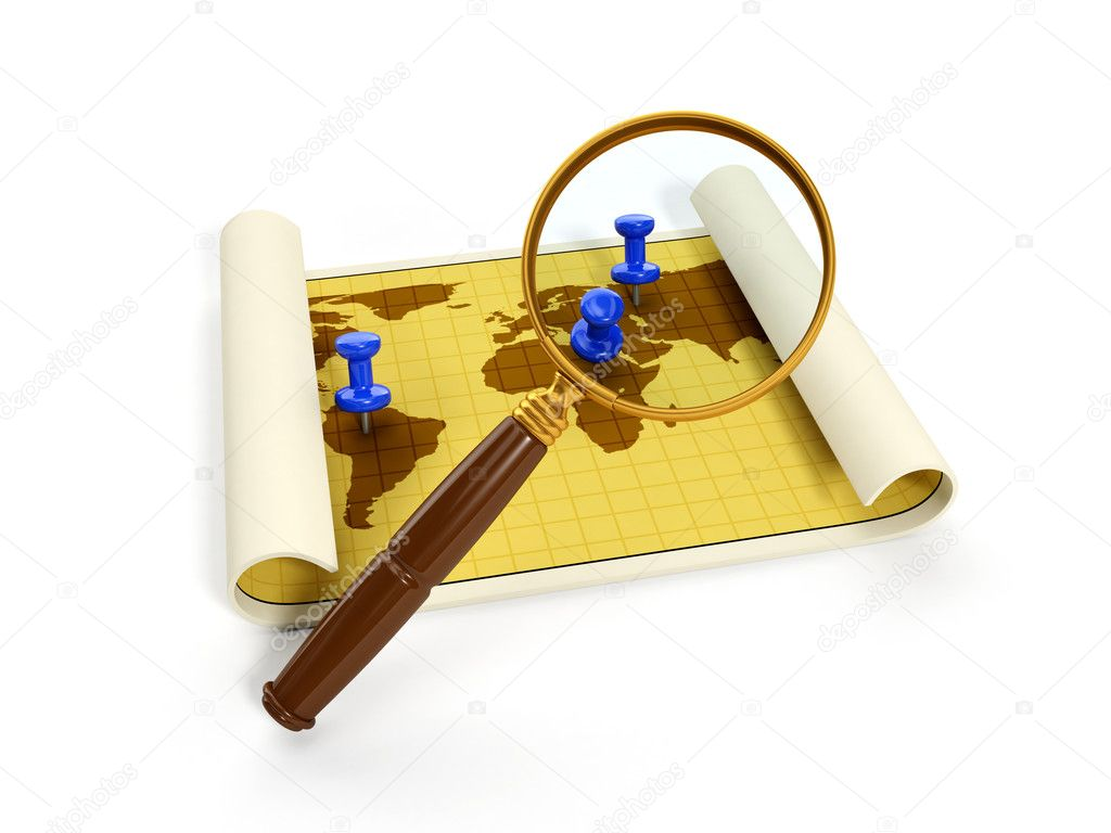 3d illustration: map for travel and a magnifying glass. Isolated image — Stock Photo #11715478