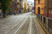 Old cobbled road in Lviv, Ukraine — Stock Photo