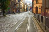 Old cobbled road in Lviv, Ukraine — Stock Photo