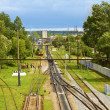 Infrastructure on railroad branching. Lviv, Ukraine — Stock Photo