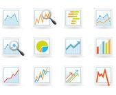Statistics and analytics icons — Stock Vector