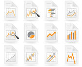 Statistics and analytics file icons — Stock Vector