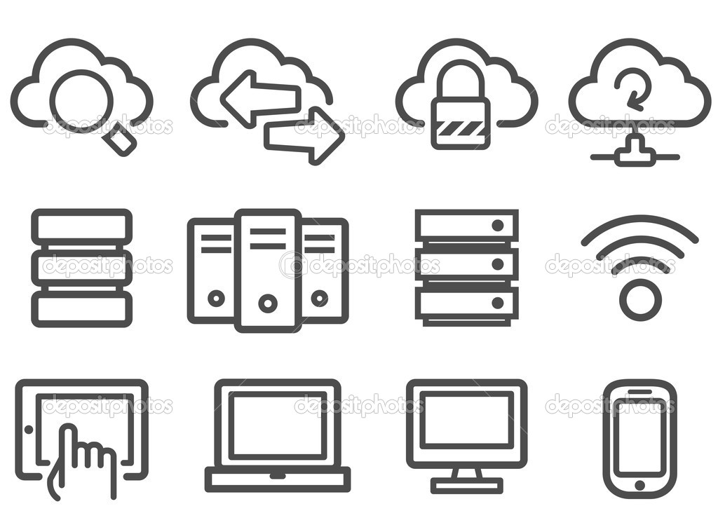 Cloud computing and computer network icon set — Imagen vectorial #11896130
