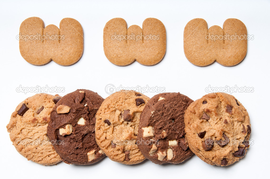WWW made from Biscuits with five cookies below to symbolise the use of cookies on the internet. — Stock Photo #10810703