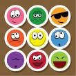 Cute face icons — Stock Vector