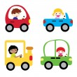 Royalty-Free Stock Vector Image: Happy children in car