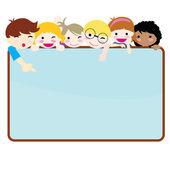 Happy children banner — Stock Vector