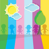 Silhouettes children — Stock Vector