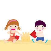 Girl and boy at beach — Stock Vector