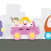 女孩驾驶 — 图库矢量图片