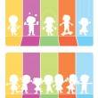 Happy children silhouettes background — Stock Vector