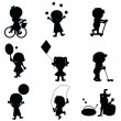 Happy children silhouettes background — Stock Vector #11265647