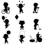 Happy children silhouettes background — Stock Vector