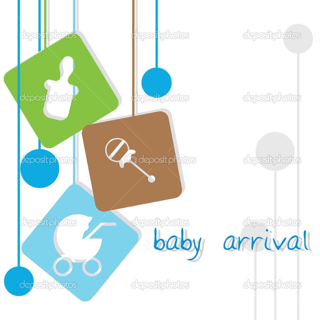 Baby arrival background with hanging baby icons — Stock Vector #11540533