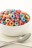 Kids delicious and nutritious cereal loops or fruit cereal — Stock Photo