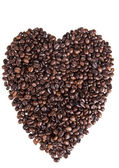 Heart of the coffee beans on white background — Stock Photo
