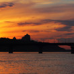 Kiev skyline at sunset — Stock Photo