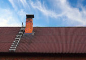 Roof chimney and a ladder — Stock Photo