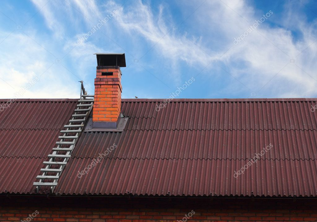 Brick roof chimney and a ladder — Stock Photo #10834269