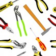 Stock Photo: Seamless background of hand tools for construction