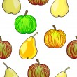 Seamless fruit pattern apples and pears — Stock Photo #11122038