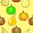 Seamless fruit pattern apples and pears — Stock Photo #11122175