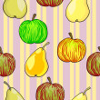 Seamless fruit pattern apples and pears — Stock Photo #11122286