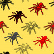Stock Photo: Halloween seamless pattern with black spiders