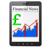 Financial News on Tablet PC. Isolated on white. Vector illustra — Stock Photo