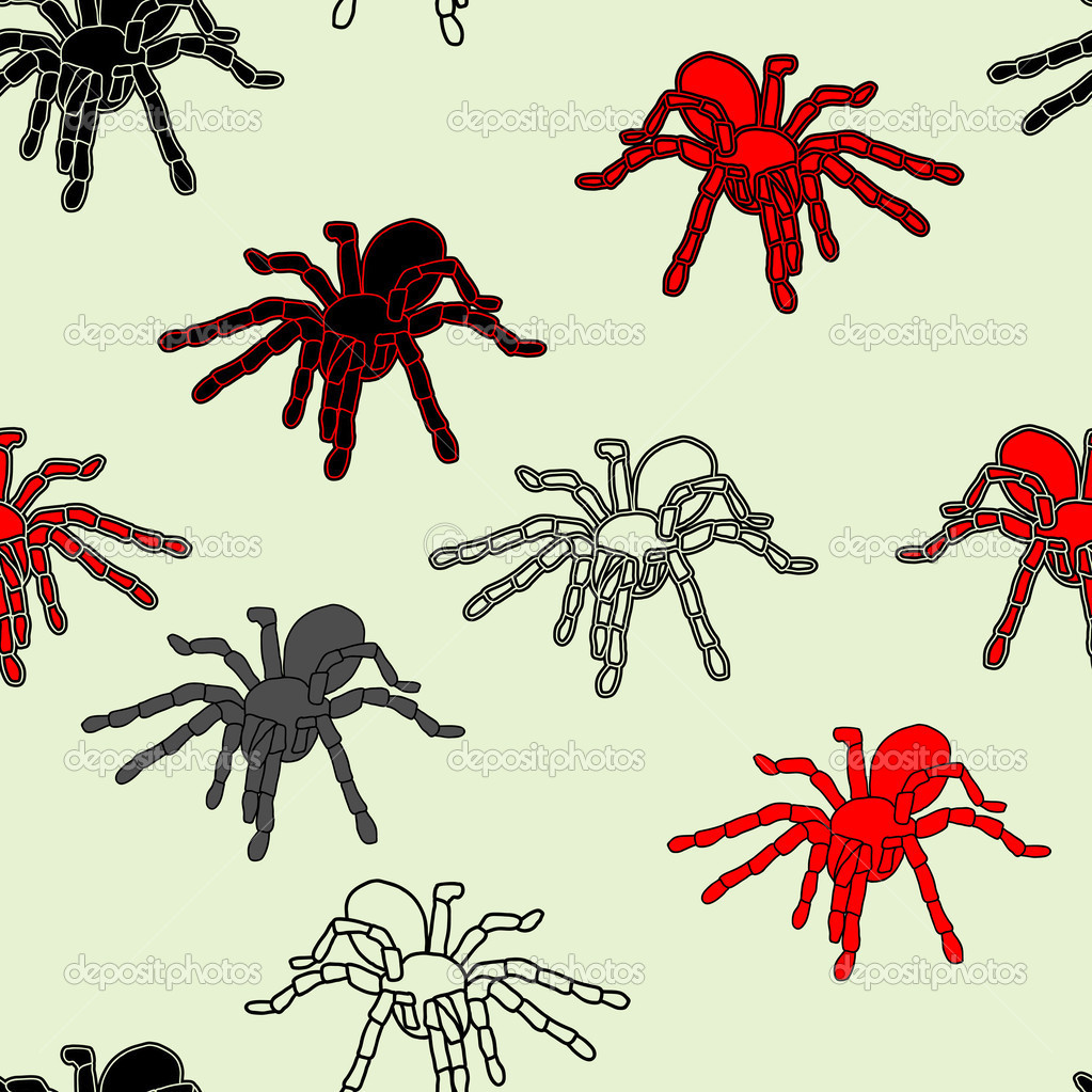 黑蜘蛛和 web 的无缝模式 (可重复, 可在任意大小进行缩放),矢量图—