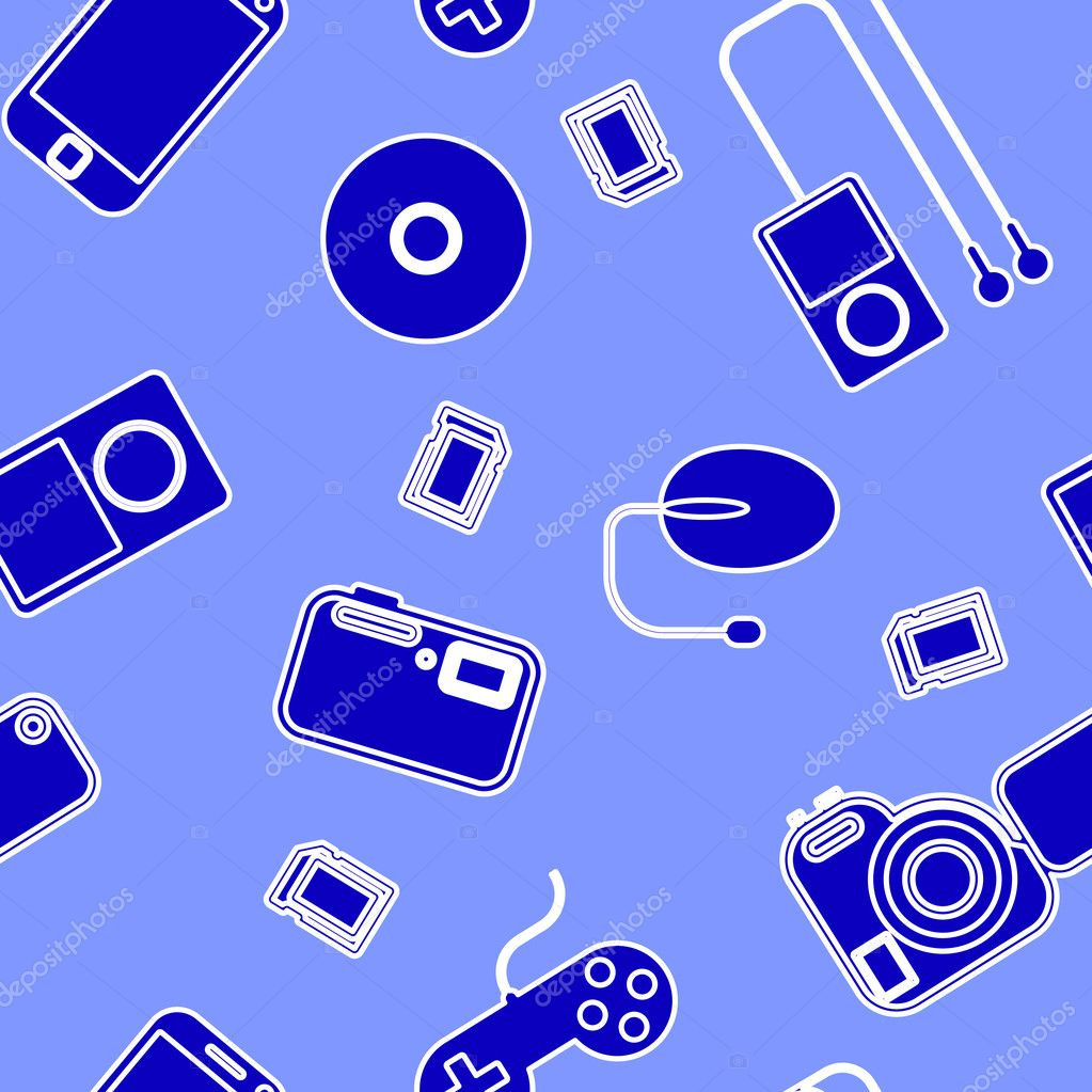 Seamless background Icon  with  electronic gadgets. Could be used as seamless wallpaper, textile, wrapping paper or background — Stock Photo #11125144