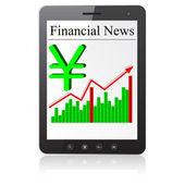 Notícias financeiras yena no tablet pc. isolado no branco. — Foto Stock
