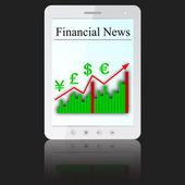 Financial News on white tablet PC computer — Stock Photo
