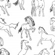 Seamless wallpaper horses — Stock Photo