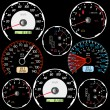 Stock Photo: Set of car speedometers for racing design.